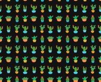Kaktusowego płaskiego projekta wektoru ilustracyjny bezszwowy wzór Fotografia Stock