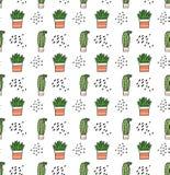 Kaktusowy bezszwowy wzór w kawaii doodle royalty ilustracja