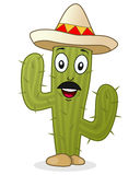 Kaktusowy charakter z Meksykańskim kapeluszem Fotografia Royalty Free