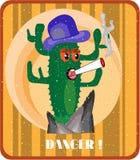 Kaktusowy dorośnięcie na falezie, dymienie papieros, Obrazy Stock