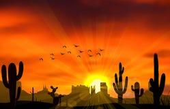 Kaktusowy drzewo gdy zmierzch ilustracja wektor