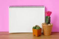 Kaktusowy i pusty notatnika papier na drewnianym backgro Zdjęcie Royalty Free