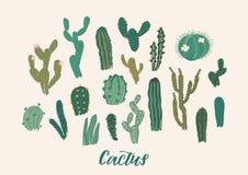 Kaktusowy kolekcja set również zwrócić corel ilustracji wektora elementy projektu podobieństwo ilustracyjny wektora Zdjęcia Stock