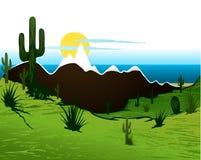 Kaktusowy saguaro, góry i rzeka. Wektor royalty ilustracja