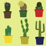 Kaktusvektorsamling Arkivfoton