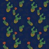 Kaktusy w garnkach na błękitnym tle patern royalty ilustracja