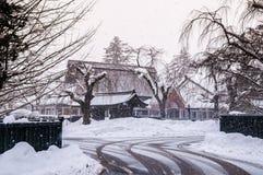 Kakunodate - Akita en hiver, enneigement au-dessus de la ville photo stock