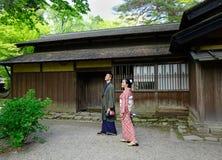 Kakunodate samurajområde i Akita, Japan Fotografering för Bildbyråer