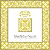 Kaléidoscope rond jaune antique de courbe du modèle set_234 de cadre de tuile Photos libres de droits
