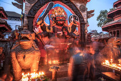 Kal Bhairab, Durbar fyrkant, Katmandu, Nepal Arkivbild