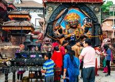 Kal Bhairav op Durbar-Vierkant in Katmandu, Nepal Royalty-vrije Stock Foto