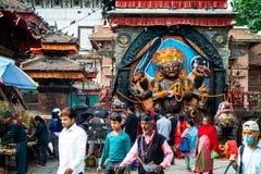 Kal Bhairav op Durbar-Vierkant in Katmandu, Nepal Stock Afbeeldingen