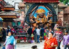 Kal Bhairav op Durbar-Vierkant in Katmandu, Nepal Stock Foto
