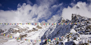 Kala patthar summit at the right sagarmatha Stock Image