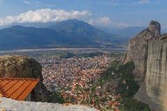 Kalabaka town in Meteora Stock Photography