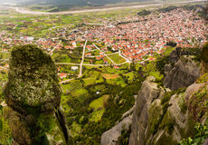 Kalabaka town under Meteora in Greece Stock Photography