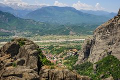 Kalabaka town view from Meteora rocks, Greece Royalty Free Stock Photos