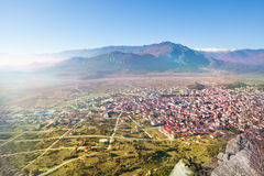 The Kalabaka town, view from monastery Royalty Free Stock Image