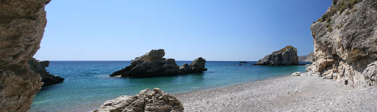 Kaladi beach, Kythera, Greece. One of the best beaches of the island of Kythera. Shot as a panoramic stitching of 5 photos (with no obvious seams royalty free stock photography