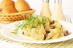 Kalafior z pieczarkami dla śniadania Zdjęcie Stock