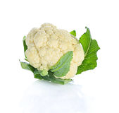Kalafior zieleni liście na białym tle zdjęcia royalty free