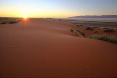 Kalahari solnedgång Arkivfoton