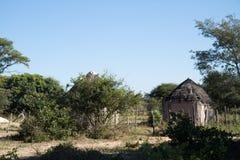 Kalahari village in botswana. Kalahari road and village in africa Royalty Free Stock Image