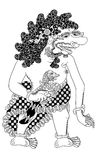 Kalaharu. Antagonist figure of traditional puppet show, wayang kulit from java indonesia stock illustration