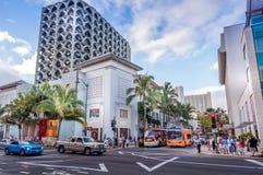 Kalakaua shoppingområde Arkivbilder