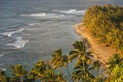 Kalalau足迹考艾岛海岛日落 库存照片