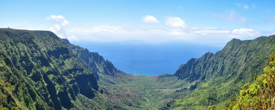 Kalalau Canyon. View from above on Kalalau Canyon on Kauai, Hawaii Royalty Free Stock Images
