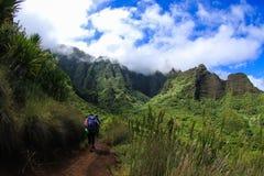 Kalalau. Mid way on the trail to Kalalau valley Royalty Free Stock Photo