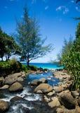 Kalalau trail, Kauai. Along the majestic fins of the world-famous Napali Coast Stock Image