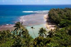 Kalalau trail, Kauai. Along the majestic fins of the world-famous Napali Coast Stock Photos