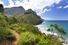 Kalalau Trail, Kauai. View along the Na Pali Coast from the Kalalau Trail in Kauai, Hawaii Stock Photos