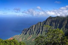 Kalalau Valley lookout of the Napali coast found on Kauai, Hawaii royalty free stock photography