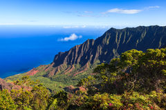 Kalalau Valley in the Morning. Amazing view of the Kalalau Valley and the Na Pali coast in Kauai Stock Images