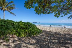 Amazing Tropical Kalama Beach Park Oahu Hawaii royalty free stock image