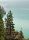 Kalamalka Lake near Vernon. In foggy day royalty free stock photos