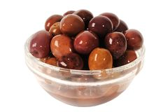 Kalamata black olives in a bowl stock photo