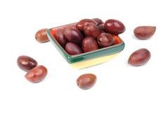 Kalamata olives in bowl Stock Photos