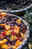 Kalamata olives marinated on market royalty free stock photography