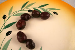 Kalamata Olives on a plate Royalty Free Stock Photography