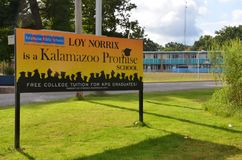 Kalamazoo promise school. KALAMAZOO, MI / USA - AUGUST 12, 2017: Graduates of Loy Norrix high school, shown here, can get free college tuition through the Royalty Free Stock Photos