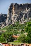 Kalambaka city with rocky mountains of Meteora Royalty Free Stock Images