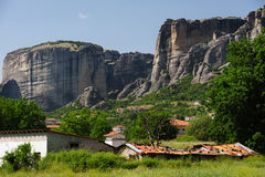 Kalambaka city with rocky mountains of Meteora Royalty Free Stock Image