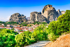 Kalambaka, Greece. Kalabaka, Greece. City Kastraki & x28;Kalambaka& x29; with rocky mountains of Meteora, the landmark of six monasteries in Thessaly Royalty Free Stock Photography