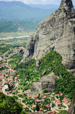 Kalambaka town view from Meteora rocks, Greece Royalty Free Stock Photography