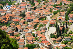 Kalambaka town view from Meteora rocks, Greece Royalty Free Stock Images