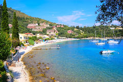 Kalami plaża, Corfu, Grecja Zdjęcie Royalty Free